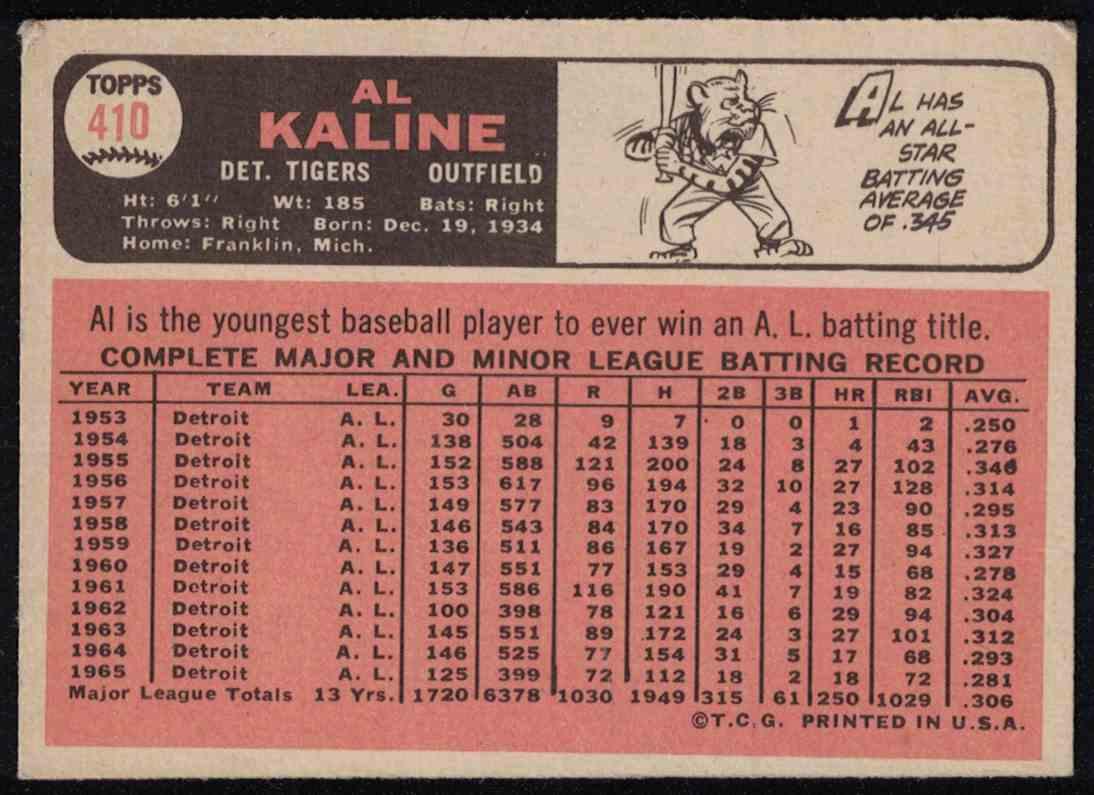 1966 Topps Al Kaline EX+ #410 card back image