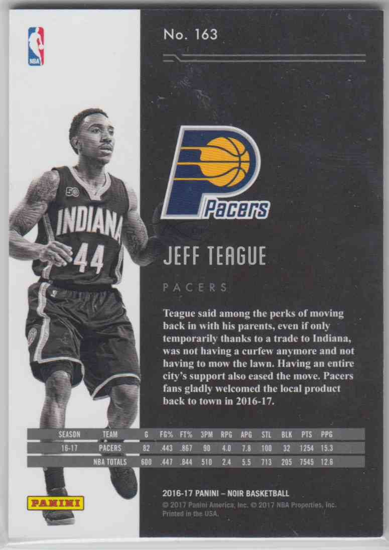 2016-17 Panini Noir Base Jeff Teague #163 card back image