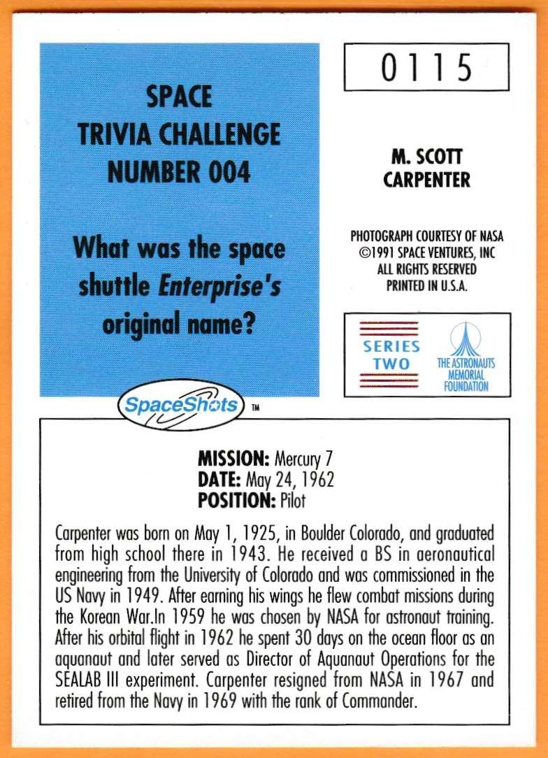 1991 Space Shots Space Trivia Challenge Scott M. Carpenter #115 card back image