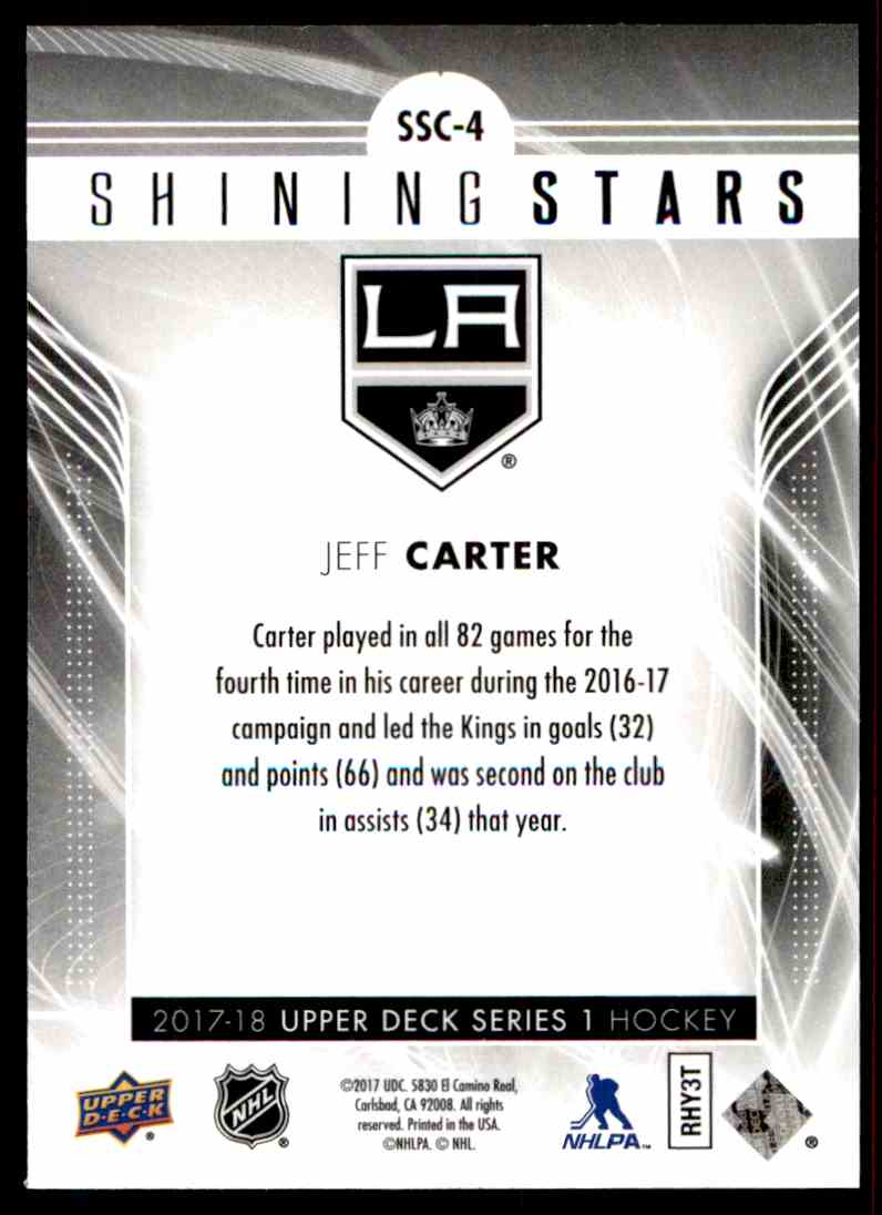 2017-18 Upper Deck Shining Stars Red Jeff Carter #SSC-4 card back image