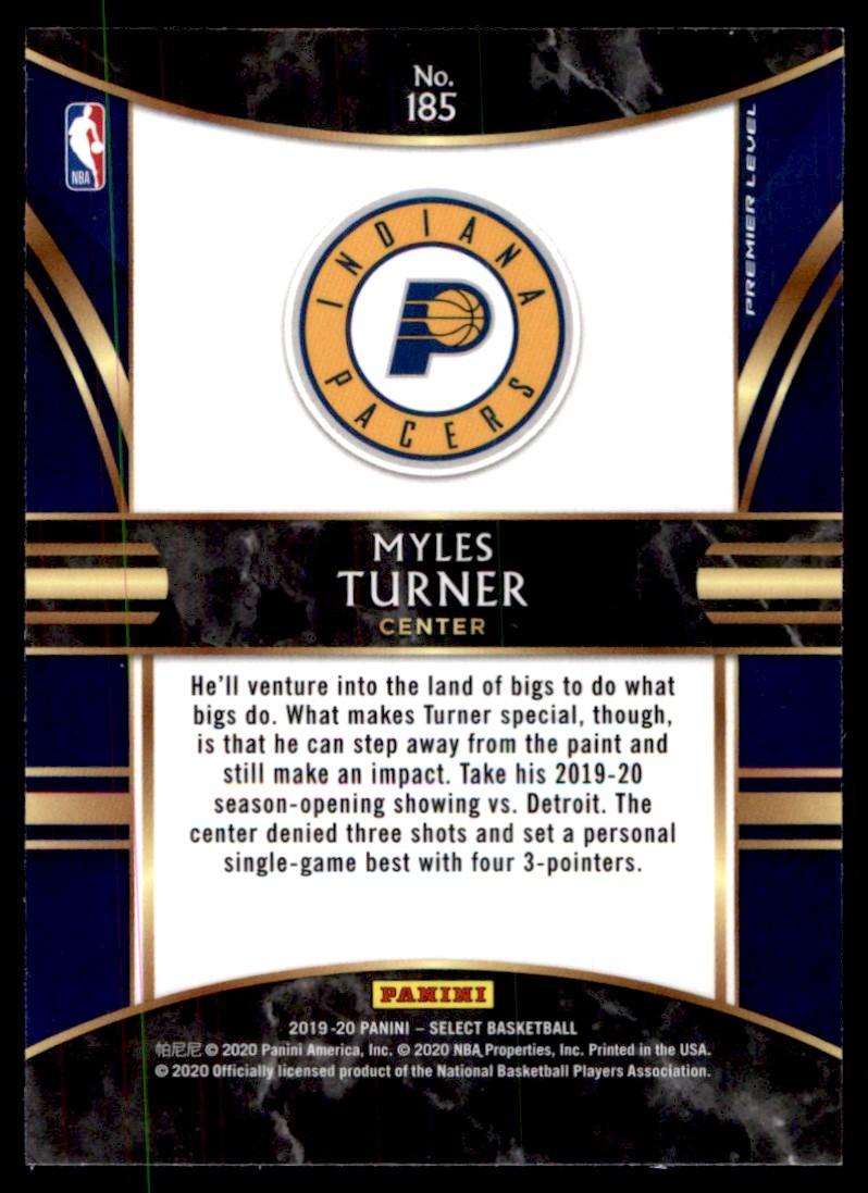 2019-20 Panini Select Myles Turner #185 card back image