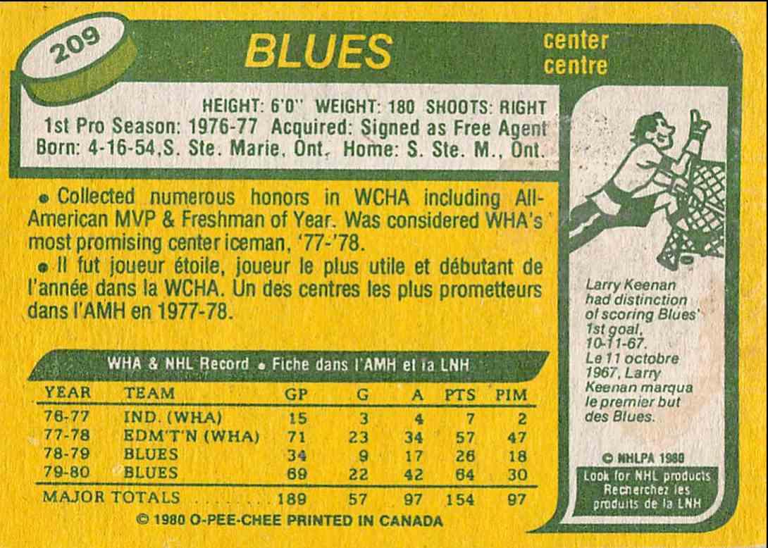 1980-81 O-Pee-Chee Mike Zuke #209 card back image