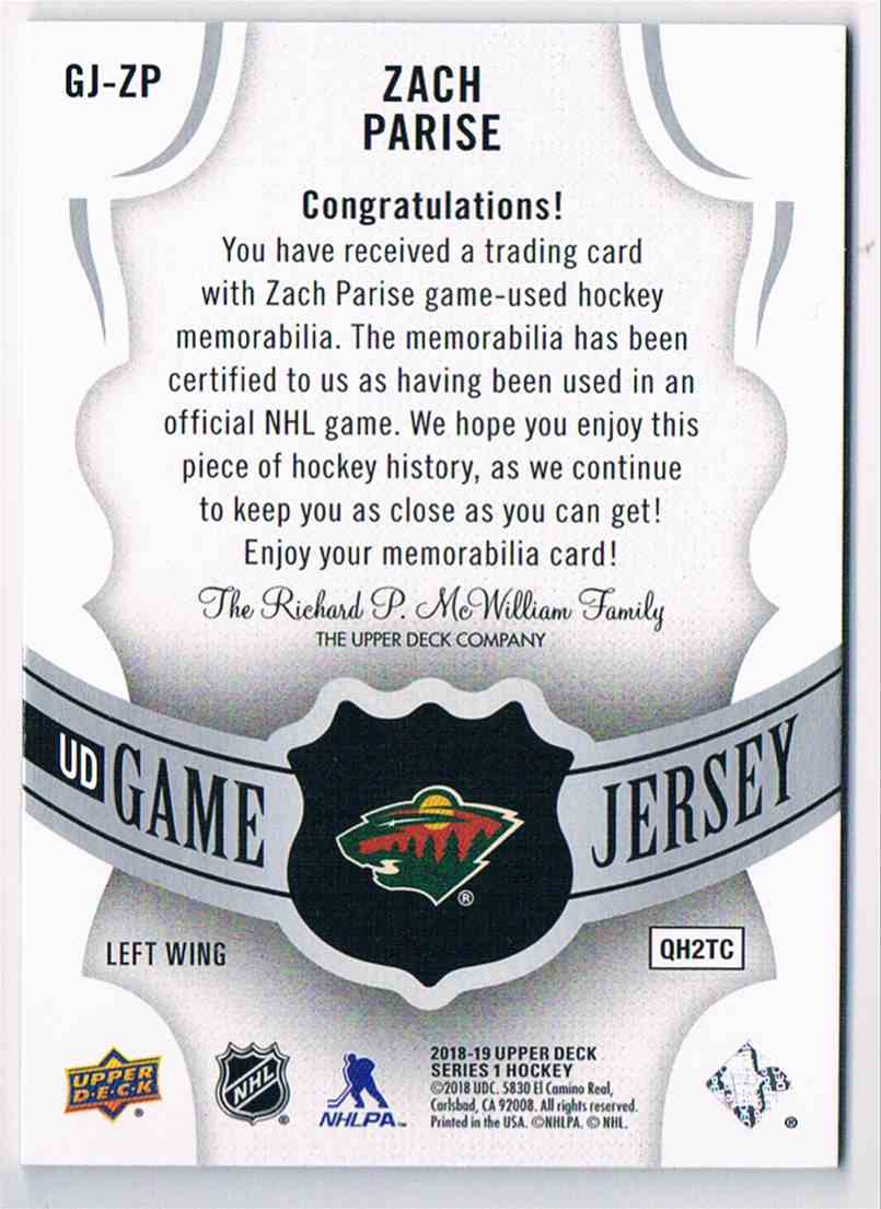 2018-19 Upper Deck UD Game Jersey Zach Parise #GJ-ZP card back image