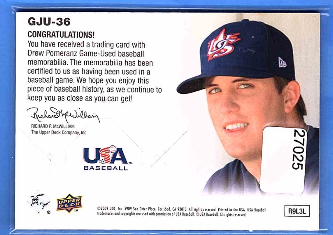 2009 Upper Deck Signature Stars USA Star Prospects Jerseys Drew Pomeranz #GJU36 card back image