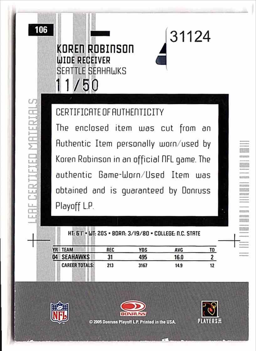 2005 Leaf Certified Materials Mirror Blue Materials Koren Robinson #106 card back image