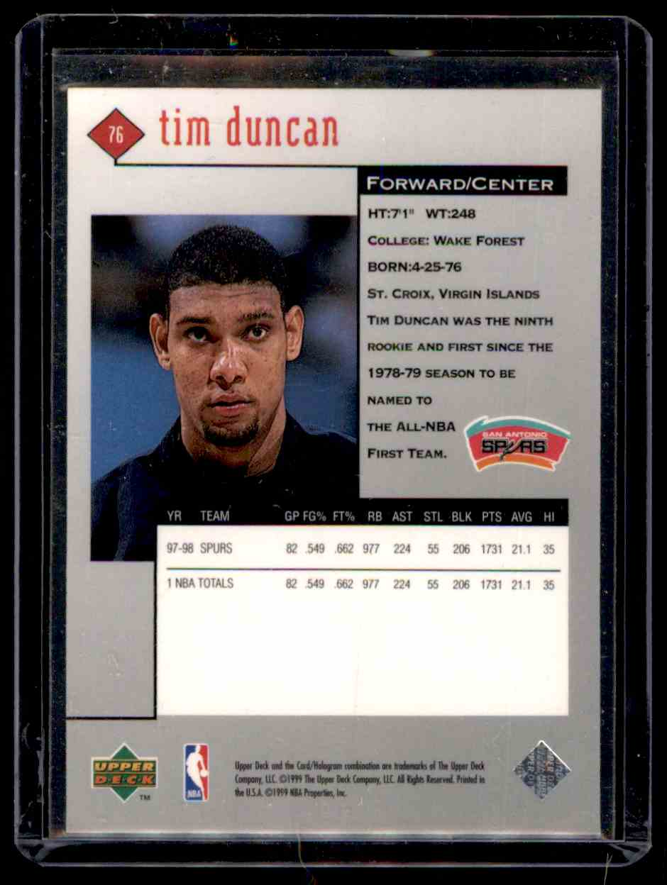 1998-99 Upper Deck Black Diamond Tim Duncan #76 card back image