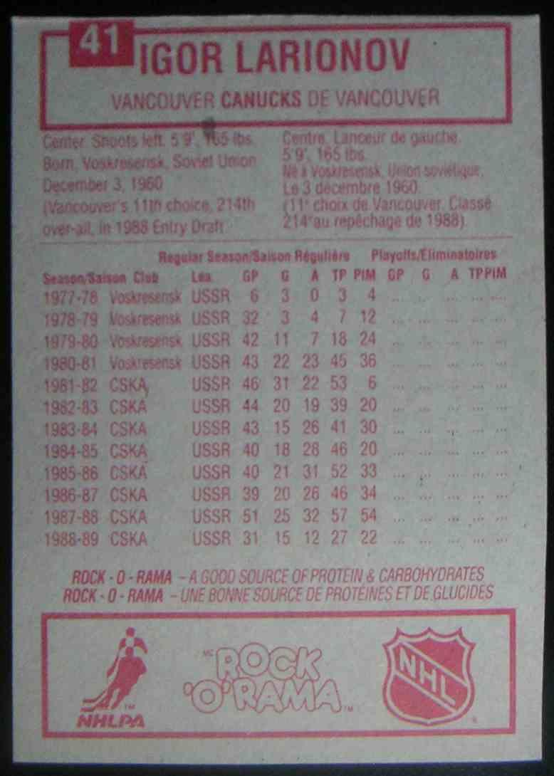 1989-90 Kraft Dinner Igor Larionov #41 card back image