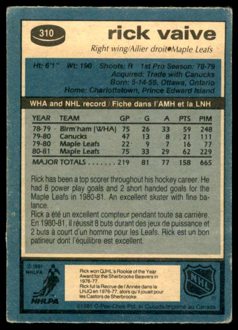 1981-82 OPC Rick Vaive #310 card back image