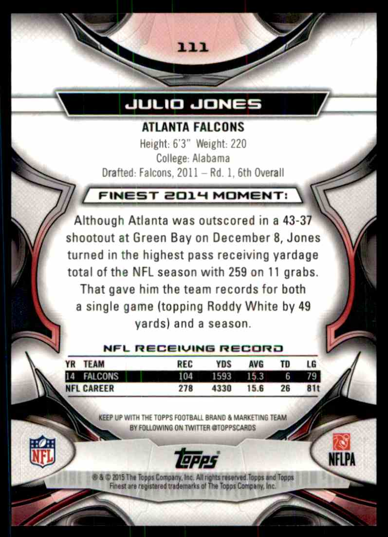 2014 Topps Finest Julio Jones card back image