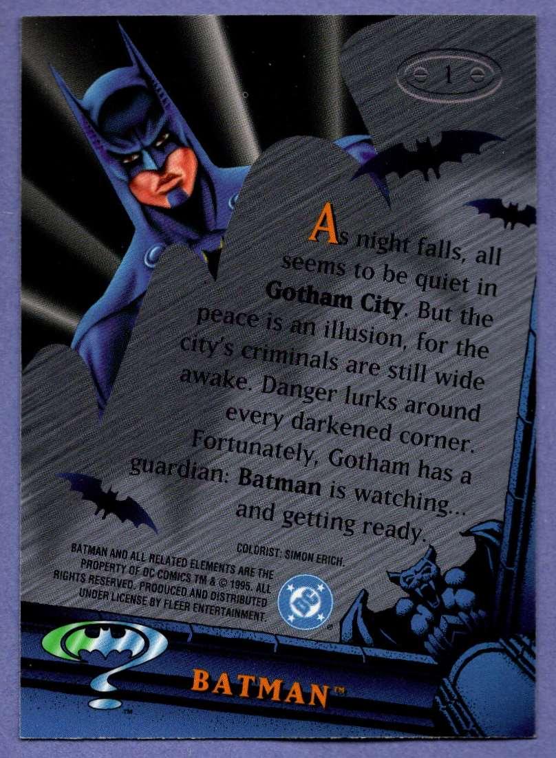 1995 Fleer Metal Batman Forever Batman #1 card back image