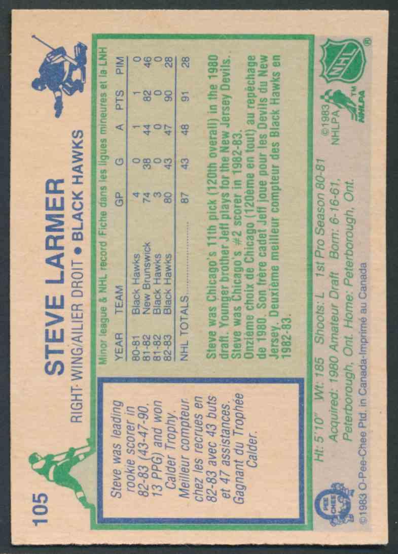 1983-84 O-Pee-Chee Steve Larmer - Mint #105 card back image
