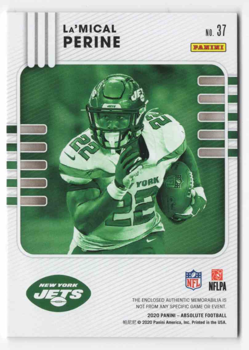 2020 Absolute Absolute Rookie Materials La'Mical Perine #37 card back image