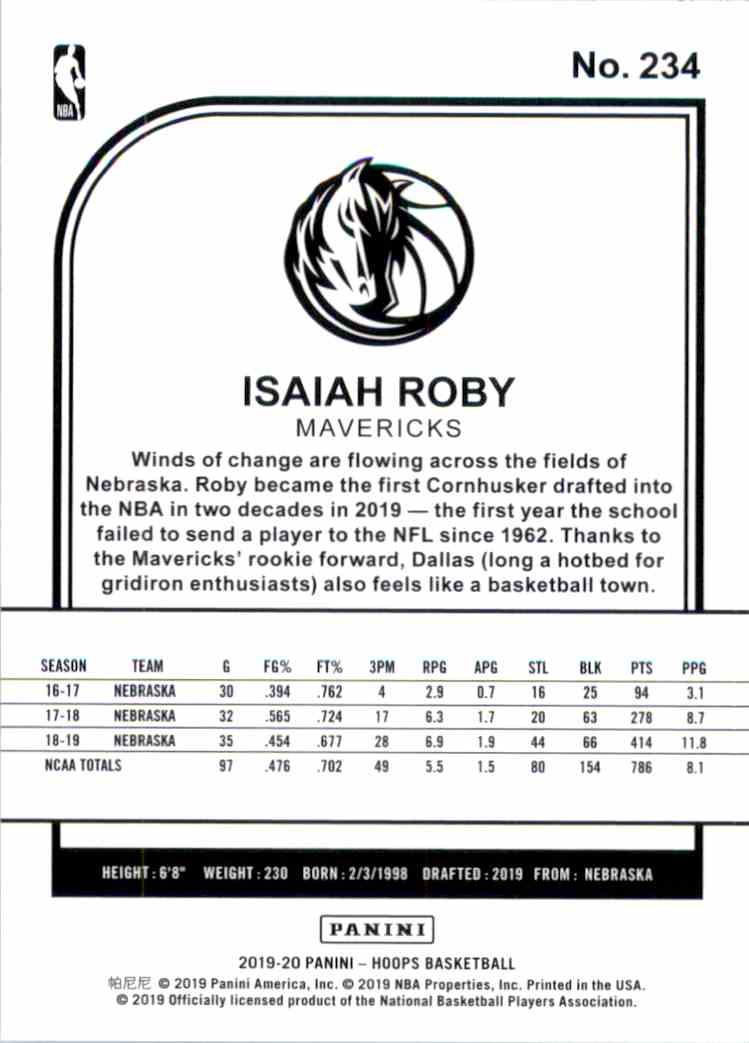 2019-20 Hoops Isaiah Roby RC #234 card back image