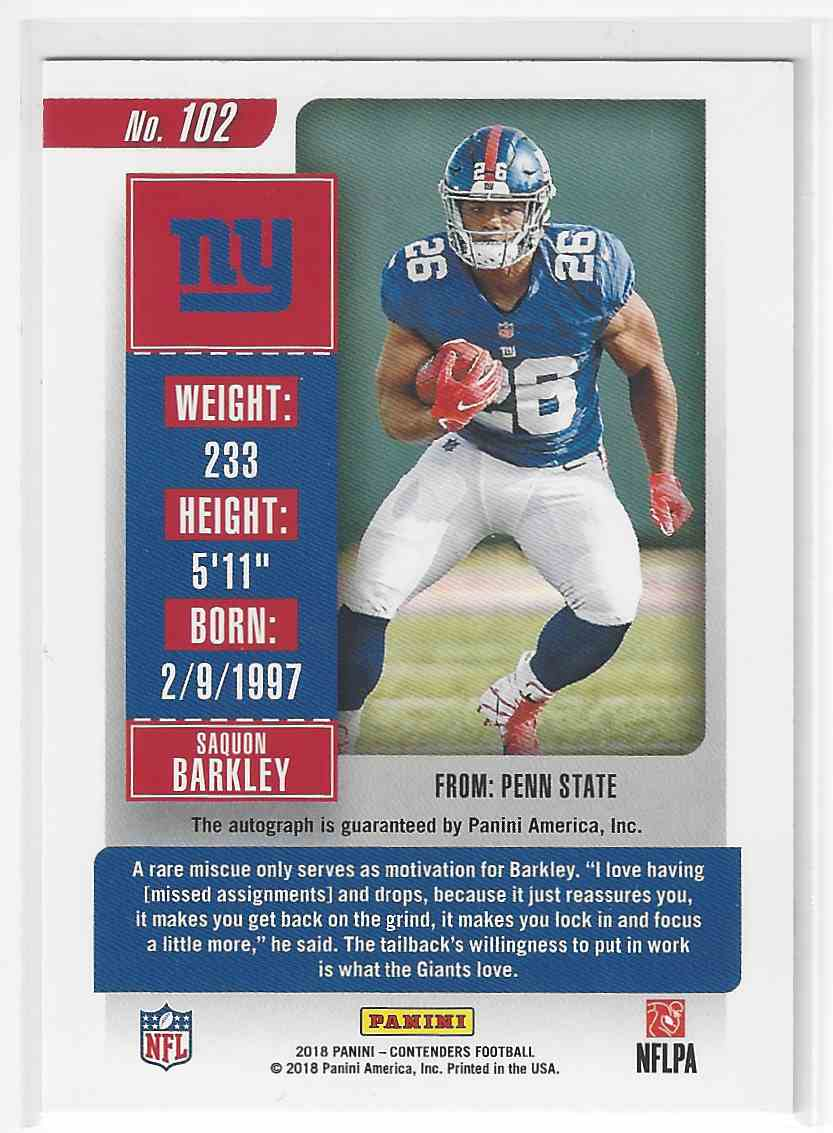 2018 Contenders Rookie Ticket Auto/Autograph RC Saquon Barkley Giants #102 card back image
