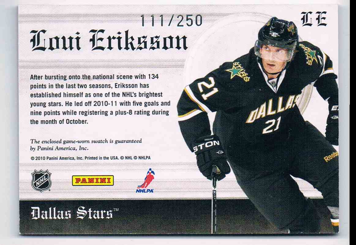 2010-11 Panini Crown Royale Heirs To The Throne Loui Eriksson #LE card back image