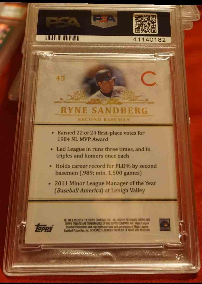 2013 Topps Tribute PSA/DNA Ryne Sandberg card back image