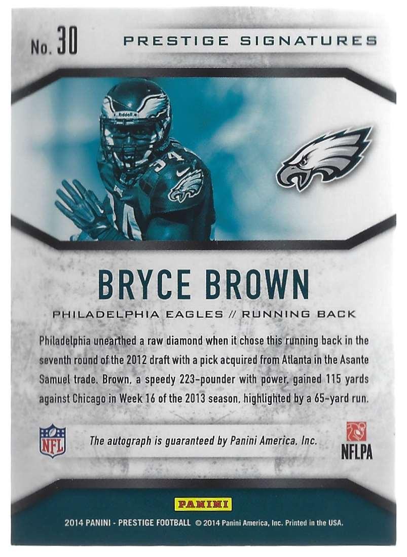 2014 Prestige Signature Bryce Brown #30 card back image