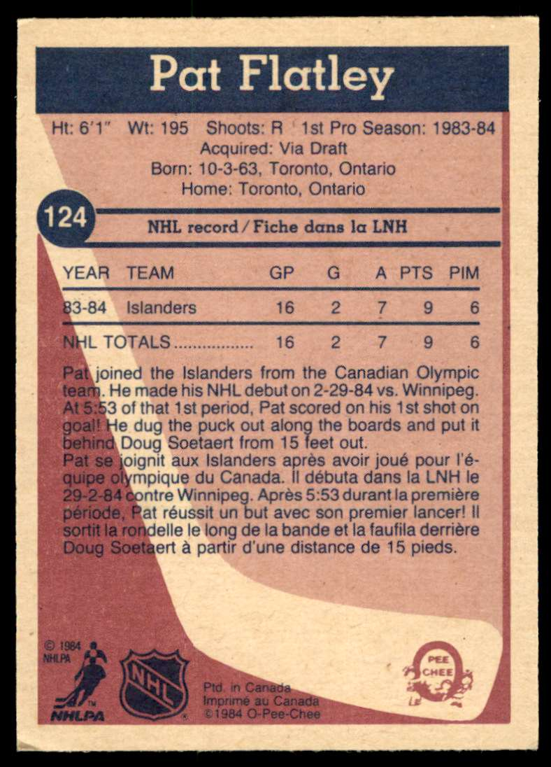 1984-85 OPC Pat Flatley #124 card back image