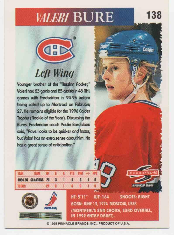 1995-96 Score Valeri Bure #138 card back image