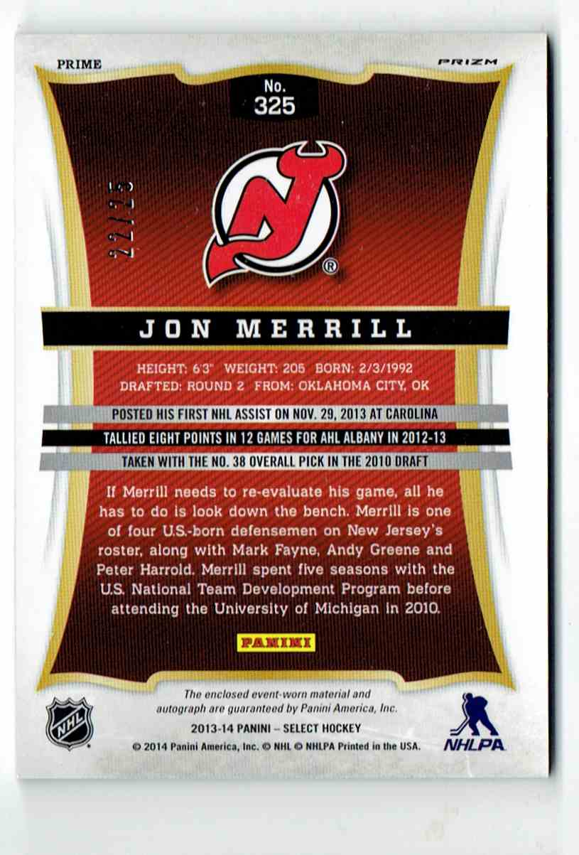 2013-14 Select Rookies Jersey Autographs Prime Jon Merrill #325 card back image