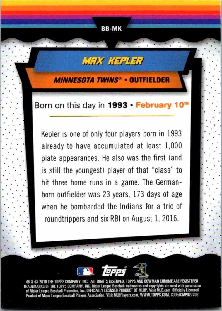 2018 Bowman Chrome Bowman Birthdays Max Kepler #BB-MK card back image