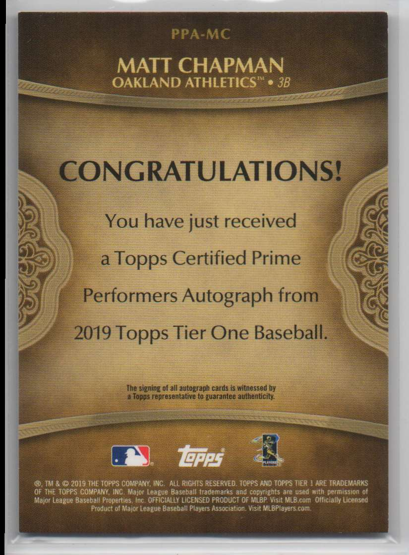 2019 Topps Tier One Prime Performers Autographs Matt Chapman #PPA-MC card back image