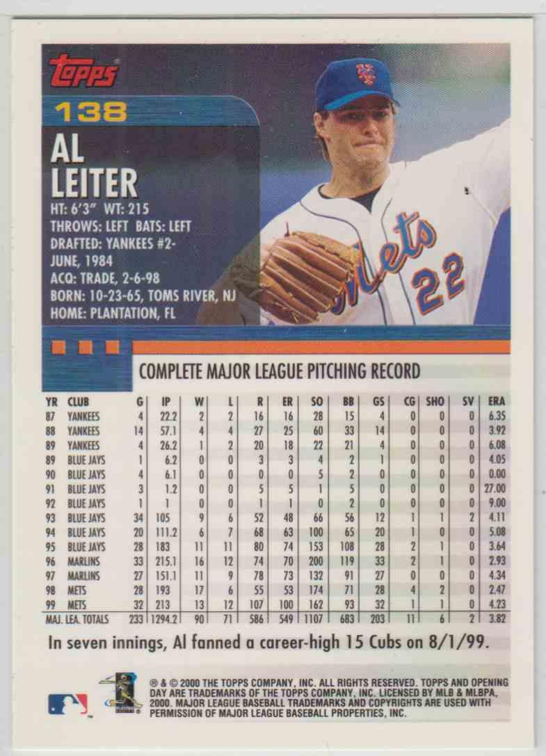 2000 Topps Opening Day Al Leiter 138 On Kronozio