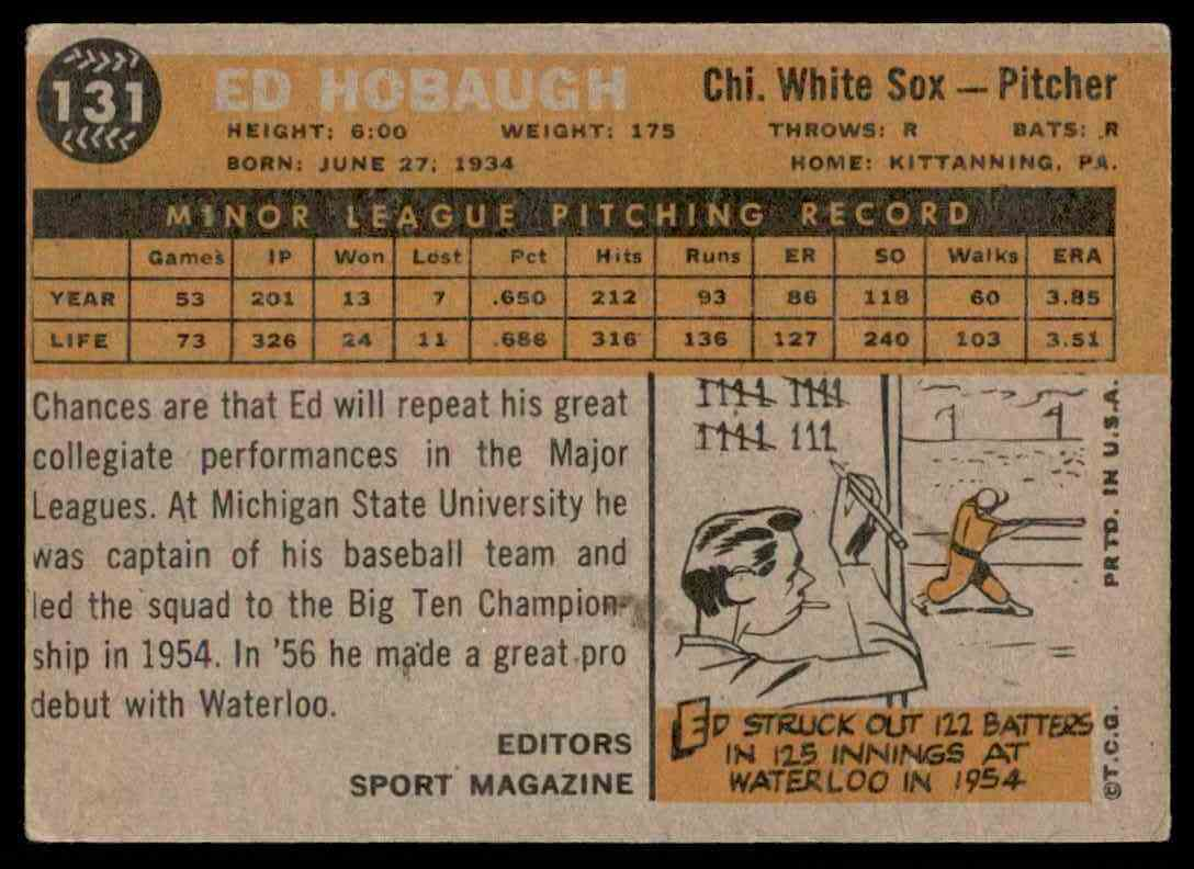 1960 Topps Ed Hobaugh Rs RC #131 card back image