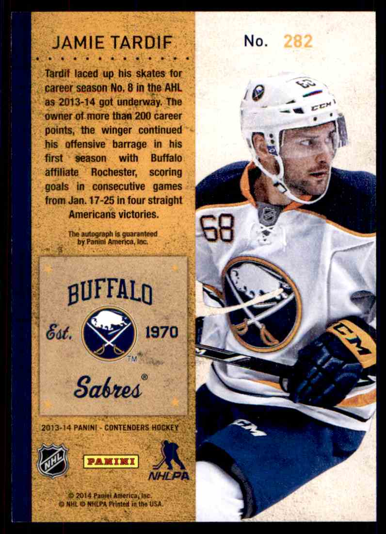 2013-14 Panini Contenders ! Jamie Tardif #282 card back image