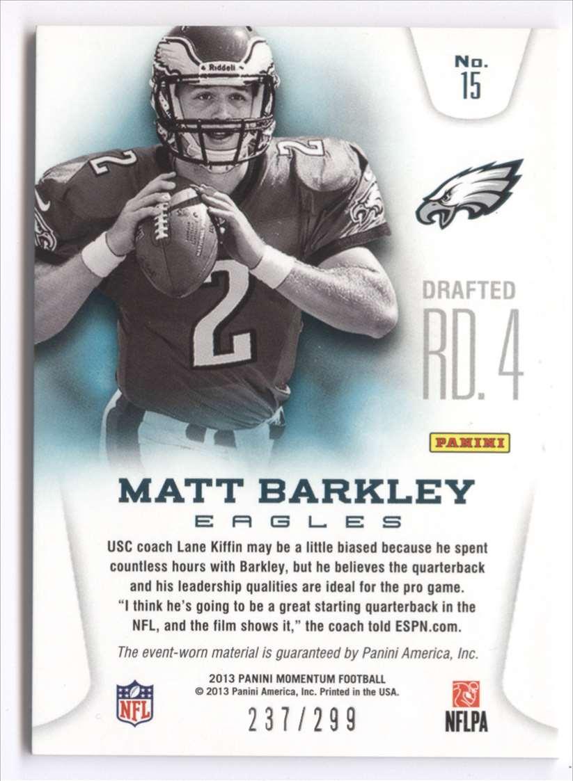 2013 Panini Momentum Rookie Team Threads Quad Materials Matt Barkley #15 card back image