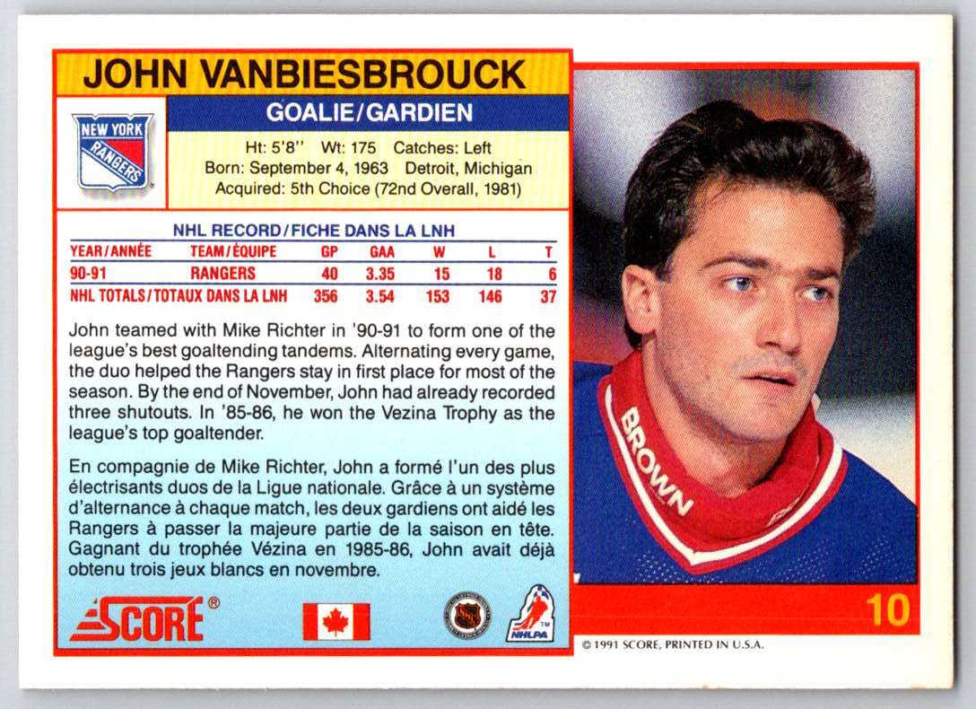 1991-92 Score Canadian Bilingual John Vanbiesbrouck #10 card back image