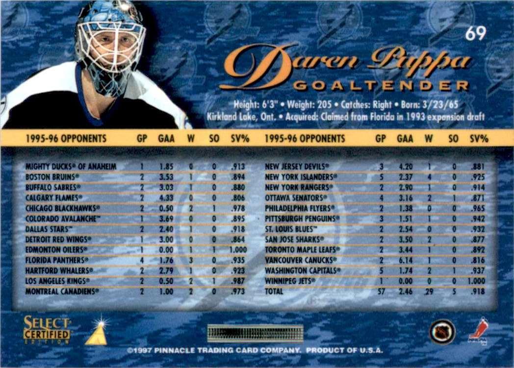 1996-97 Select Certified Daren Puppa #69 card back image