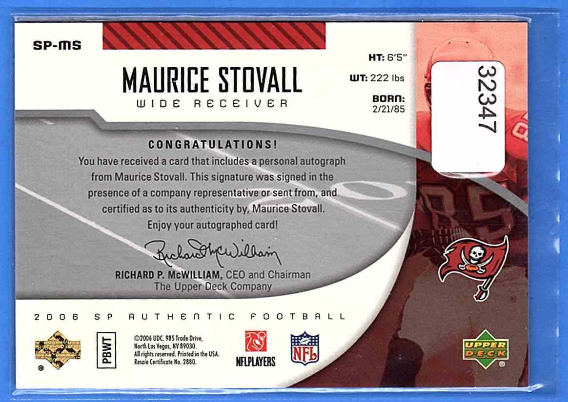 2006 SP Authentic Autographs Maurice Stovall #SP-MS card back image