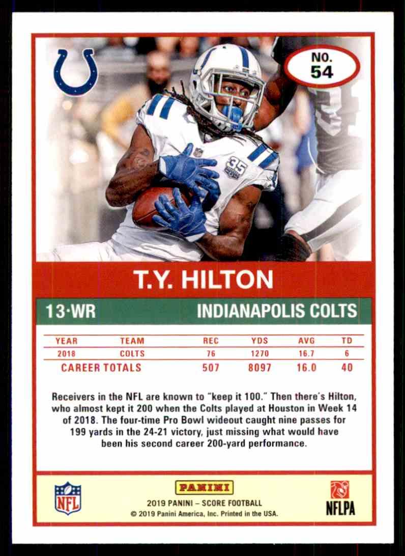 2019 Score T.Y. Hilton #54 card back image
