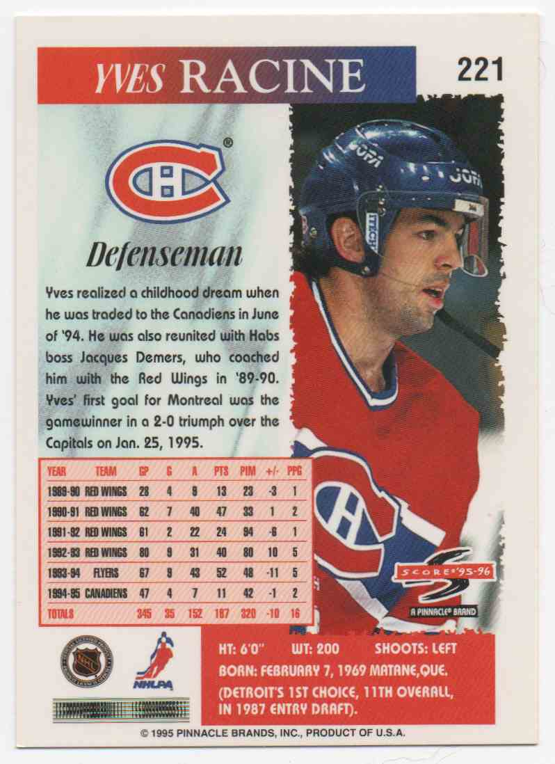 1995-96 Score Yves Racine #221 card back image