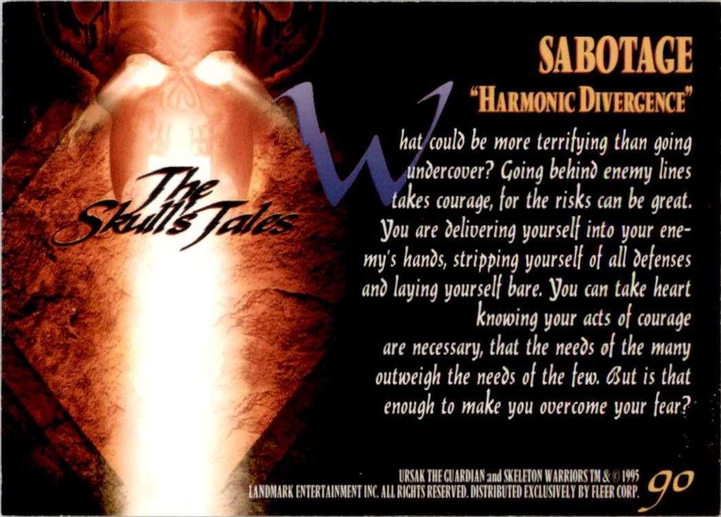 1995 Skeleton Warriors Ultra Sabotage: Harmonic Divergence #90 card back image