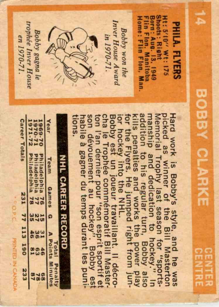 1972-73 O-Pee-Chee Bobby Clarke #14 card back image