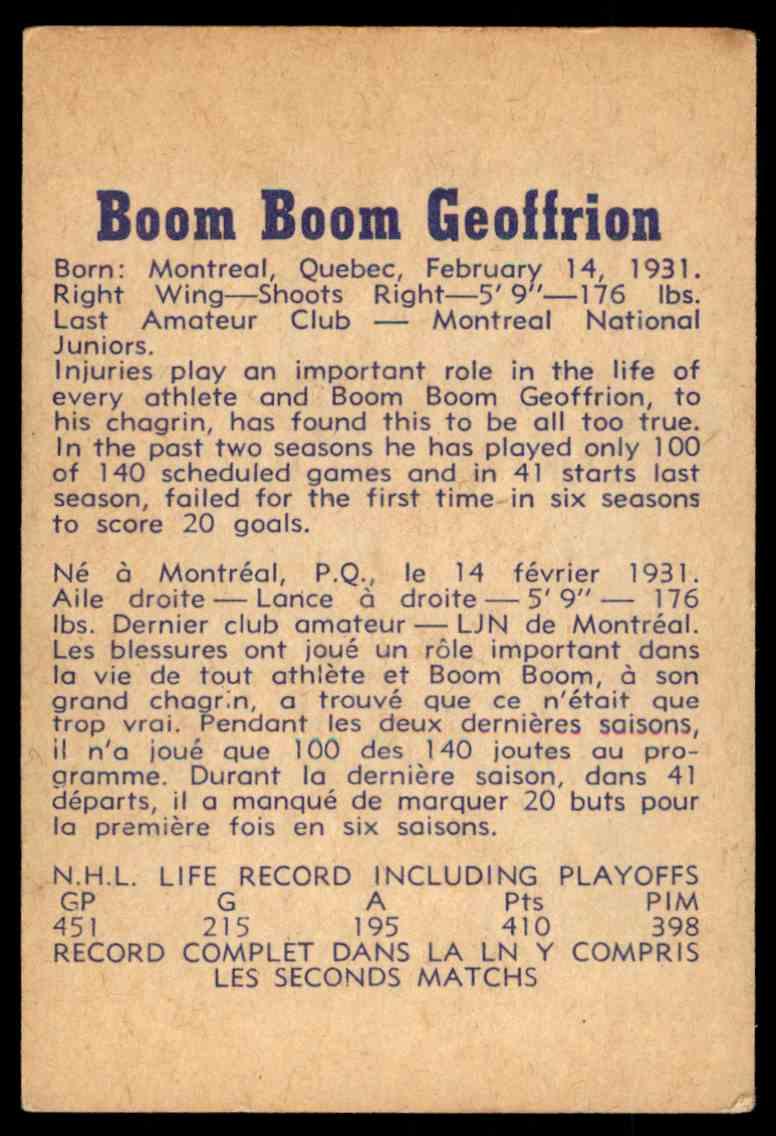 1957-58 Parkhurst Boom Boom Geoffrion #M2 card back image