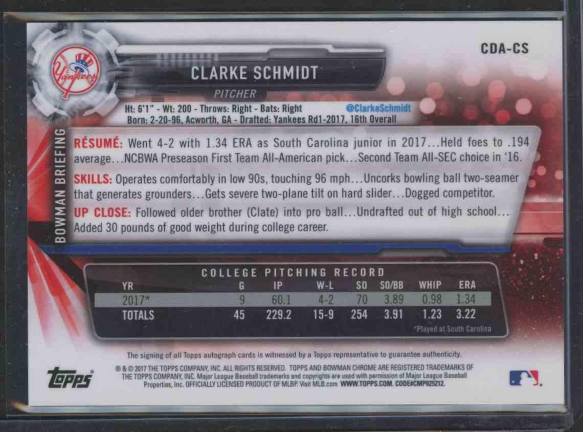 2017 Bowman Chrome Draft Autograph Clarke Schmidt card back image