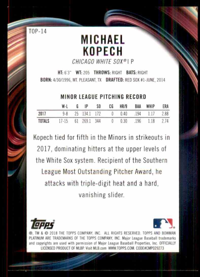 2018 Bowman Platinum Top Prospects Green Michael Kopech #TOP-14 card back image