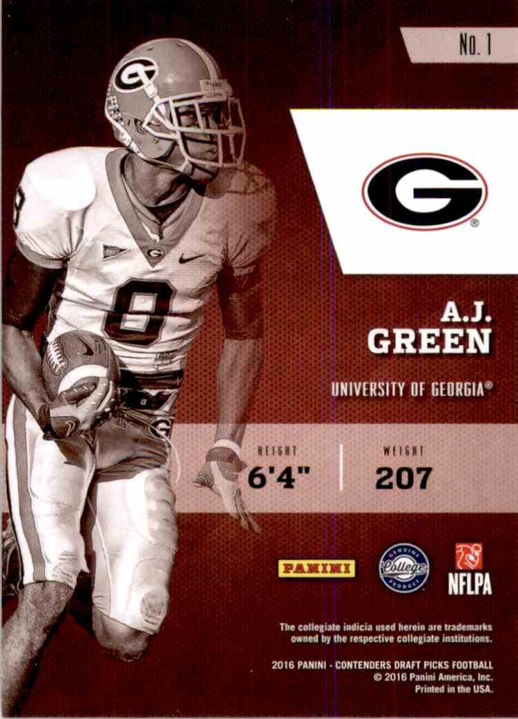 2016 Panini Contenders Draft Picks Class Reunion A.J. Green #1 card back image