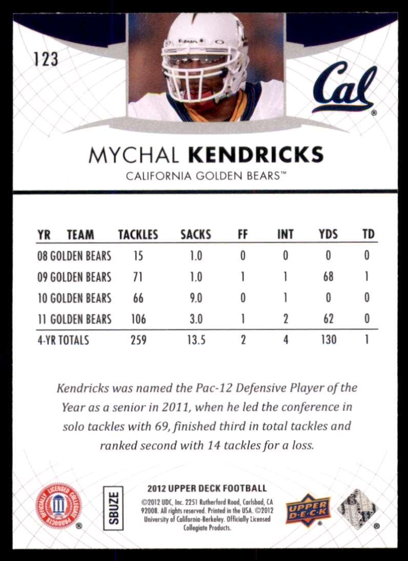 2012 Upper Deck Mychal Kendricks #123 card back image