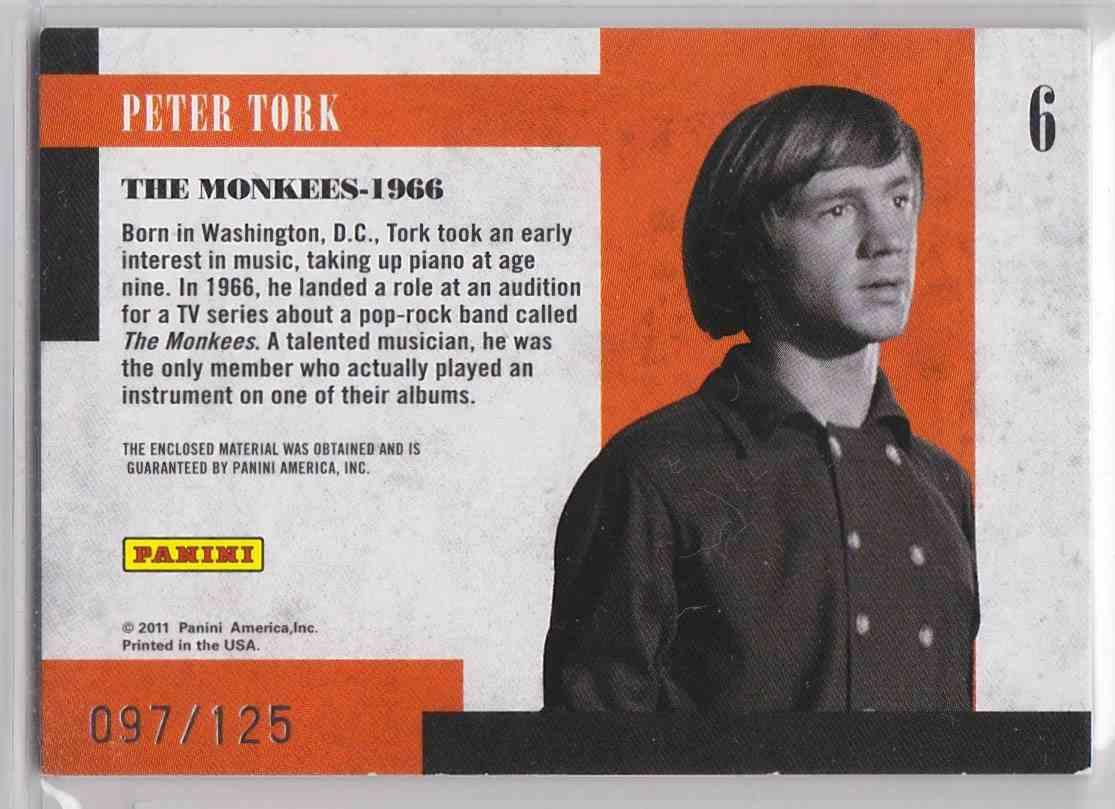 2011 Panini Americana Prime Time Star Small Screen Materials Peter Tork #6 card back image