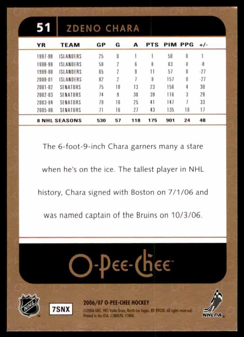 2006-07 O-Pee-Chee Zdeno Chara #51 card back image