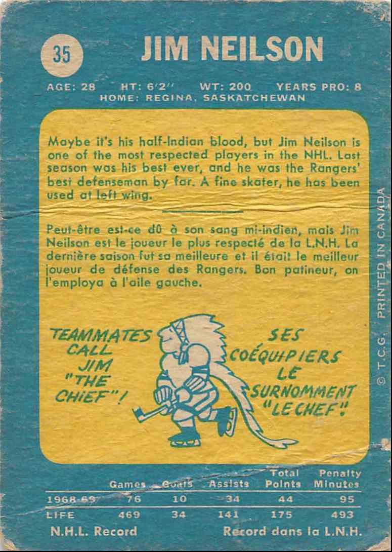 1969-70 O-Pee-Chee Jim Neilson #35 card back image
