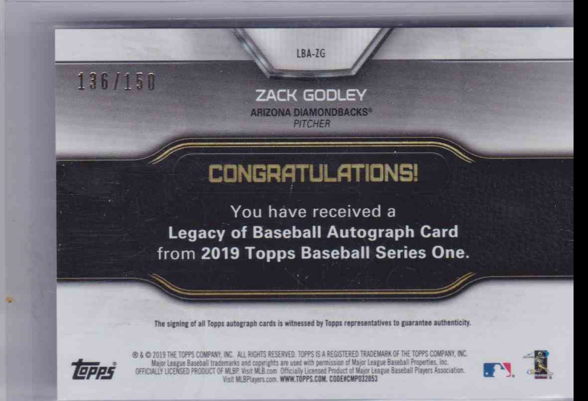 2019 Legacy Of Baseball Autograph 150th Anniversary Series 1 Zack Godley #LBA-ZG card back image