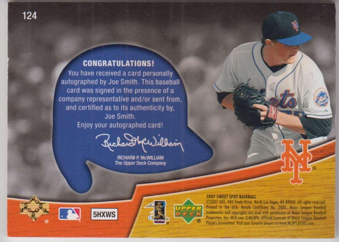 2007 Upper Deck Sweet Spot Joe Smith #124 card back image