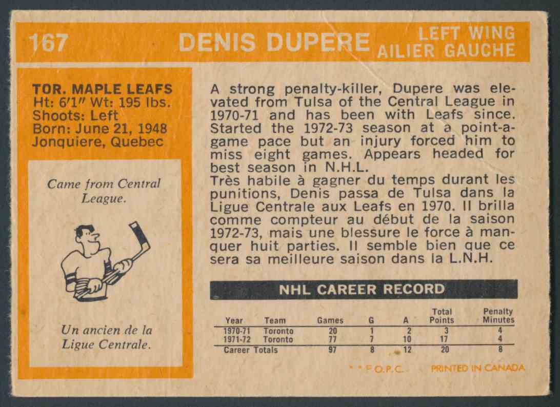 1972-73 O-Pee-Chee Denis Dupere #167 card back image