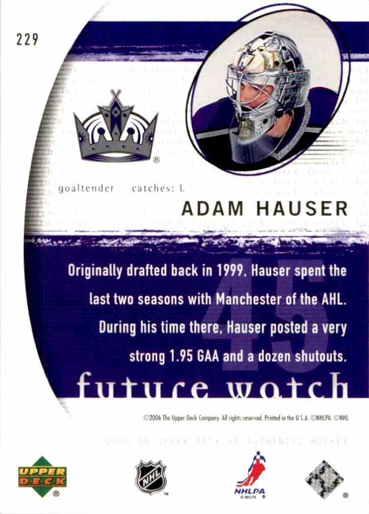 2005-06 Upper Deck SP Authentic Adam Hauser #229 card back image