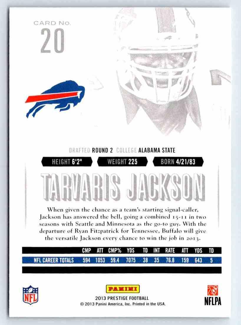 2013 Prestige Tarvaris Jackson #20 card back image
